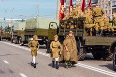 Novokuznetsk, Russia - June 24, 2020: Victory parade. Victory Day in the Great Patriotic War. Celebrating the victory over fascism