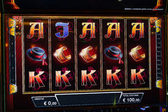 Novomatic Slot machine gaming screen. VIP slot machines. Klaipeda, Lithuania. CASINO TORNADO, LITHUANIA - 24 FEBRUARY 2017: Novomatic Slot machine gaming screen Royalty Free Stock Images