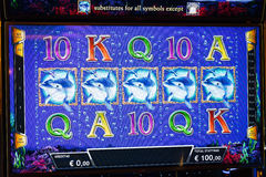 Novomatic Slot machine gaming screen. VIP slot machines. Klaipeda, Lithuania. Stock Image