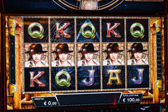 Novomatic Slot machine gaming screen. VIP slot machines. Klaipeda, Lithuania. Royalty Free Stock Photo