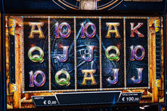 Novomatic Slot machine gaming screen. VIP slot machines. Klaipeda, Lithuania. Stock Photo