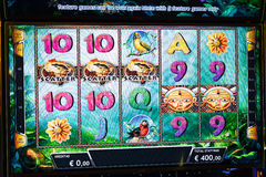 Novomatic Slot machine gaming screen. VIP slot machines. Klaipeda, Lithuania. CASINO TORNADO, LITHUANIA - 24 FEBRUARY 2017: Novomatic Slot machine gaming screen Stock Photos