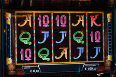 Novomatic Slot machine gaming screen. VIP slot machines. Klaipeda, Lithuania. CASINO TORNADO, LITHUANIA - 24 FEBRUARY 2017: Novomatic Slot machine gaming screen Stock Photography