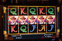 Novomatic Slot machine gaming screen. VIP slot machines. Klaipeda, Lithuania. CASINO TORNADO, LITHUANIA - 24 FEBRUARY 2017: Novomatic Slot machine gaming screen Stock Images