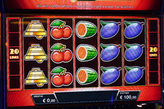 Novomatic Slot machine gaming screen. VIP slot machines. Klaipeda, Lithuania. Royalty Free Stock Image