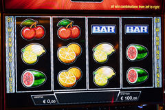 Novomatic Slot machine gaming screen. VIP slot machines. Klaipeda, Lithuania. Stock Images