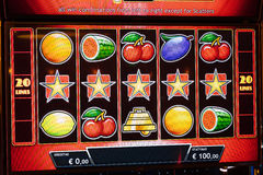 Novomatic Slot machine gaming screen. VIP slot machines. Klaipeda, Lithuania. CASINO TORNADO, LITHUANIA - 24 FEBRUARY 2017: Novomatic Slot machine gaming screen Stock Image