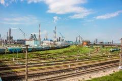 Novomoskovsk Rosja, Czerwiec, - 2015: Fabryki chemikaliów ` Azota ` obraz stock