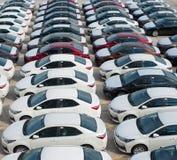 Novorossijsk, Russia - maggio, 18, 2017: Molte nuove automobili Toyota Corolla hanno parcheggiato sul sito da vendere Vista da so Fotografie Stock Libere da Diritti