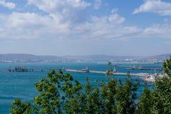 The Novorossiysk Bay. The black sea. Stock Photos