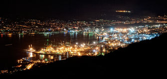 Novorossiysk by Night. A view on the bay of Novorossiysk at the Black Sea, Russia Royalty Free Stock Photography