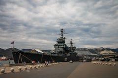 Novorossiysk, Rússia, o 23 de agosto de 2018: Navio de guerra do russo fotos de stock royalty free