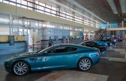 NOVOROSSIYSK, RUSIA - 19 DE JULIO DE 2009: Coche de Aston Martin DB9 en la exposición Foto de archivo libre de regalías