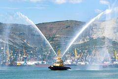 Fireboat of the Novorossiysk Fire Department stock photography