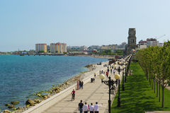NOVOROSSIYSK, RUSSIA - MAY 08.2016: embankment of the city of Novorossiysk with strolling people Royalty Free Stock Photos