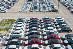 Novorossiysk, Russia - May, 18, 2017: A lot of new cars toyota corolla parked on the site for sale. View from above Royalty Free Stock Photo