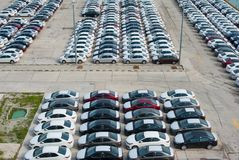 Novorossiysk, Russia - May, 18, 2017: A lot of new cars toyota corolla parked on the site for sale. View from above Royalty Free Stock Image