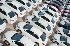 Novorossiysk, Russia - May, 18, 2017: A lot of new cars toyota corolla parked on the site for sale. View from above Stock Image