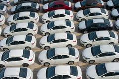 Novorossiysk Ryssland - Maj, 18, 2017: Mycket nya bilar Toyota Corolla som parkeras på den till salu platsen ovanför sikt Royaltyfria Foton