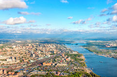 Novosibirsk. Aerial view and river Ob royalty free stock photos