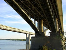 Novosibirsk bridges. Russia siberia. Bridges through the Ob for a cars and metro in Novosibirsk Stock Photo