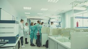 Novosibirsk 2016: Chemical Laboratory at the University. Russia Novosibirsk 2016: Chemical Laboratory at the University. School study chemistry. Students in the stock video footage