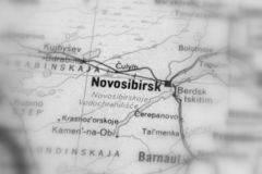 Novosibirsk, a city in Russia. Novosibirsk, a city in the Russian Federation selective black and white focus royalty free stock photography