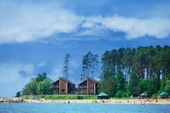 Novosibirsk 06-22-2018.Houses by the sea and the beach royalty free stock photos