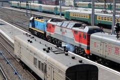 Novosibirsk. Locomotieven op centrale post Royalty-vrije Stock Afbeelding