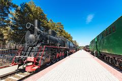 Novosibirsk Museum of railway equipment. N. A. Akulinin. Novosibirsk. Novosibirsk, Western Siberia, Russia-April 15, 2018: the territory of the Novosibirsk royalty free stock photography