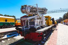 Novosibirsk Museum of railway equipment. N. A. Akulinin. Novosibirsk. Novosibirsk, Western Siberia, Russia-April 15, 2018: the territory of the Novosibirsk stock photo