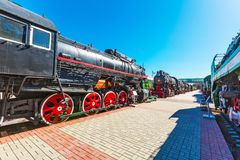 Novosibirsk Museum of railway equipment. N. A. Akulinin. Novosibirsk. Novosibirsk, Western Siberia, Russia-April 15, 2018: the territory of the Novosibirsk royalty free stock images