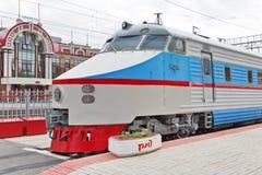 ER 200 Soviet high-speed train DC. Novosibirsk Museum of railway Stock Photo