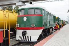 The shunting locomotive TE2 No. 289. Novosibirsk Museum of railway equipment, Siberia, Russia. Novosibirsk Museum of railway equipment in Novosibirsk, Siberia royalty free stock photography