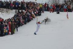 Novosibirsk, Rússia - 7 de dezembro, adultos e crianças que esperam t Imagens de Stock Royalty Free