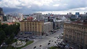 NOVOSIBIRSK, RUSIA - vista del centro de ciudad de Novosibirsk Timelapse almacen de video