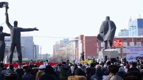 Novosibirsk, Rusland die, 25 Februari, 2017 op het gebied over het opheffen van prijzen voor de openbare nutdiensten samenkomen a stock footage