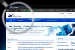 Novosibirsk, Rusland - Juni 18, 2019 - Illustratief Hoofdartikel van SBI-de homepage van de Holdingswebsite SBI- zichtbaar Holdin stock afbeelding
