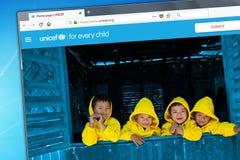 Novosibirsk, Rusland - Mei 18, 2018 - de homepage van de officiële website voor UNICEF - het Fonds van de Kinderen van de Verenig royalty-vrije stock foto's