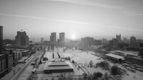 Aerial view of skyscrapers in Novosibirsk, Russia. Winter in Siberia at sunset. Novosibirsk, Russia. Aerial view of skyscrapers in Novosibirsk, Russia. Winter in stock footage