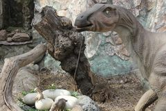 NOVOSIBIRSK, RUSSIA - APR 16: Realistic model of dinosaur at Dinopark in Zoo on Apr 16, 2016 Novosibirsk. NOVOSIBIRSK, RUSSIA - APR 16: Realistic model of royalty free stock photos