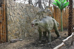NOVOSIBIRSK, RUSSIA - APR 16: Realistic model of dinosaur at Dinopark in Zoo on Apr 16, 2016 in Novosibirsk. NOVOSIBIRSK, RUSSIA - APR 16: Realistic model of royalty free stock photo