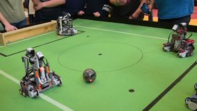 Robot football competition stock video footage