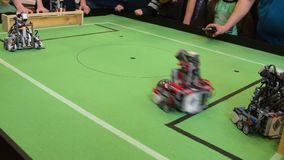 Robots football game with a goal stock video footage