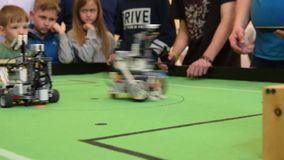 Robots football teams competing stock footage