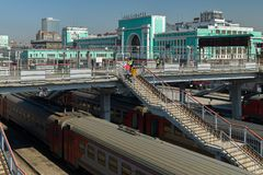 Trains on the railway tracks of the station in the city of Novosibirsk Royalty Free Stock Image