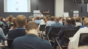 NOVOSIBIRSK RUSSIA - 20.06.2017: business people seminar conference meeting office training concept. Men and women. Listen to a seminar in the conference room stock footage