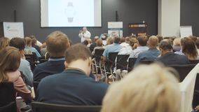 NOVOSIBIRSK RUSSIA - 20.06.2017: Business People Seminar Conference Meeting Office Training Concept. Men and women. Listen to a seminar in the conference room stock video