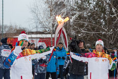 Novosibirsk, Russia - December 7, Adults and children awaiting t. Passing the torch relay, in Novosibirsk, Russia Stock Photography