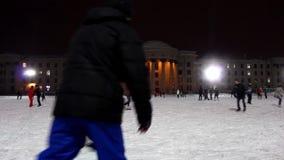 NOVOSIBIRSK, RUSSIA - DECEMBER 24,2015: Ice rink stock video footage